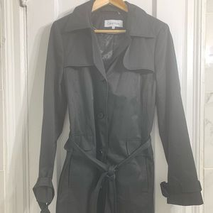 CALVIN KLEIN black raincoat trench hooded belt!